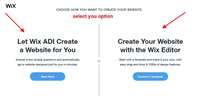 website kaise banye wix option select