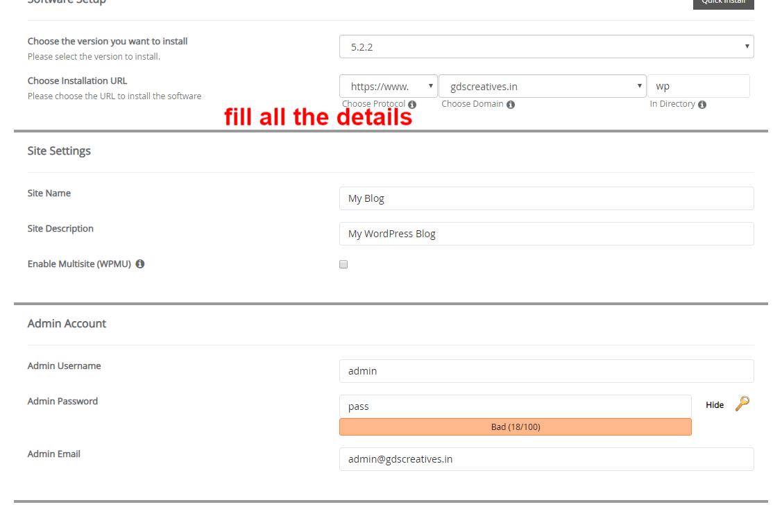Wordpress install Form