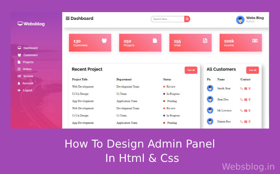 How to design admin panel in html and css